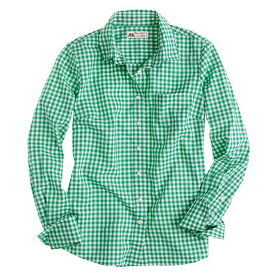 J. Crew Thomas Mason Green Checkered Perfect Shirt