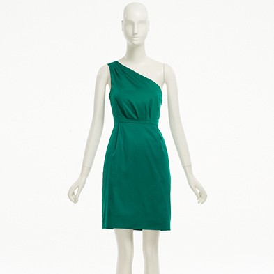 J. Crew Factory One Shoulder Kelly Green Dress Sale