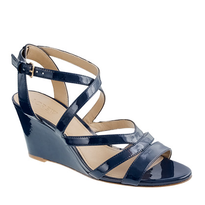 J. Crew Navy Patent Leather Wedges