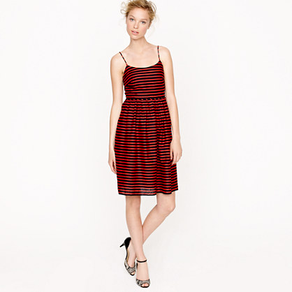 J. Crew Navy Blue and Red Striped Derby Dress via J. Crew Review