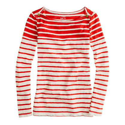 J. Crew Bright Red Striped Tee via J. Crew Review Blog