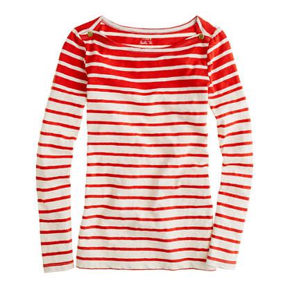 J. Crew Bright Red Striped Tee via J. Crew Review Blog