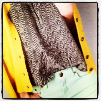 J. Crew August 2012 Style Guide Herringbone and Yellow