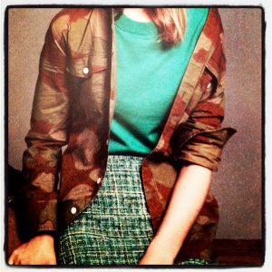 J. Crew Style Guide Camo Fatigues and Tweed